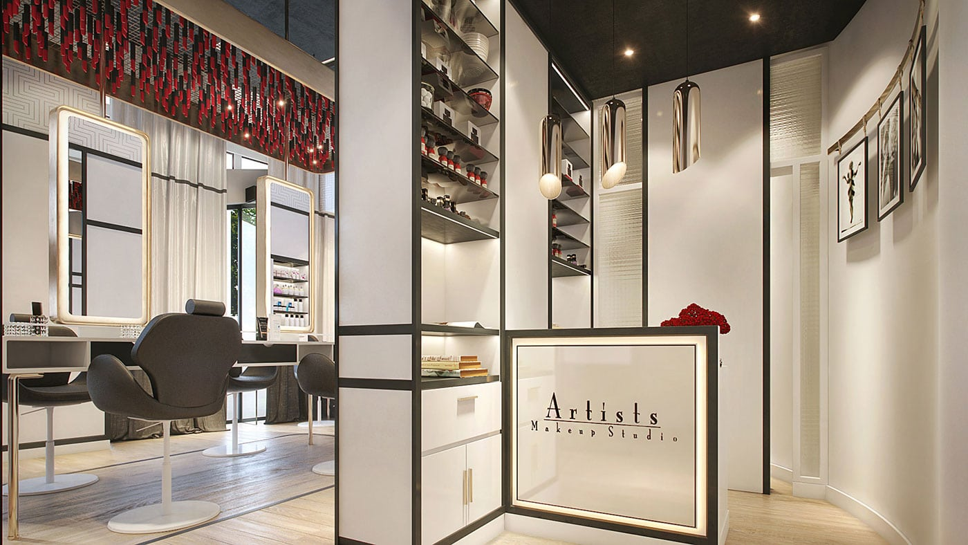 Interior design for artist make up saloon by Mirabello Interiors 3